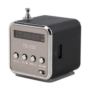 Portable Aluminum Alloy TD-V26 Mini Speaker Portable Digital LCD Sound Micro SD/TF FM Radio Music Stereo Loudspeaker for Laptop