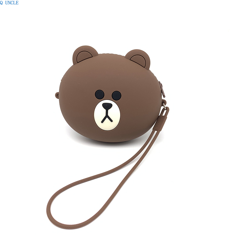2019 New Korean Cute Silicone Bear Cartoon Box Women Make up Card Bag Kids Toys Coin Wallet Storage Cellphone Earphone Cables in Earphone Accessories from Consumer Electronics