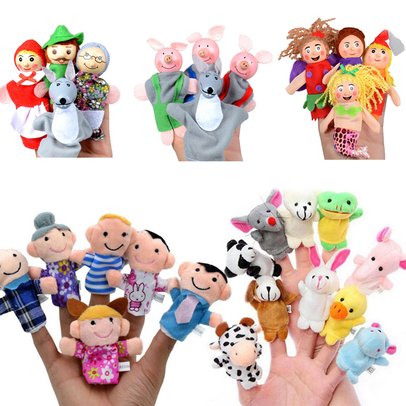 Baby Finger Puppets Mini Animal Early Educational Hand Cartoon Animal Plush Doll Theater Plush Toys For Children Christmas Gift
