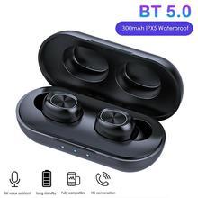 B5 tws bluetooth 5.0 fones de ouvido controle toque sem fio à prova d9água 9d estéreo música fone com 300mah banco potência