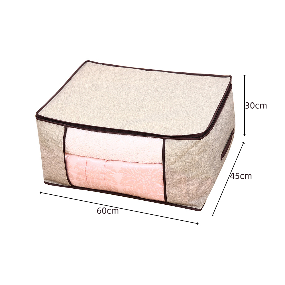 Non Woven Fabric Folding Storage Box Dirty Clothes Collecting Case With Zipper For Toys Quilt Storage Box Clear Window Organizer - Цвет: 60x45x30cm Beige