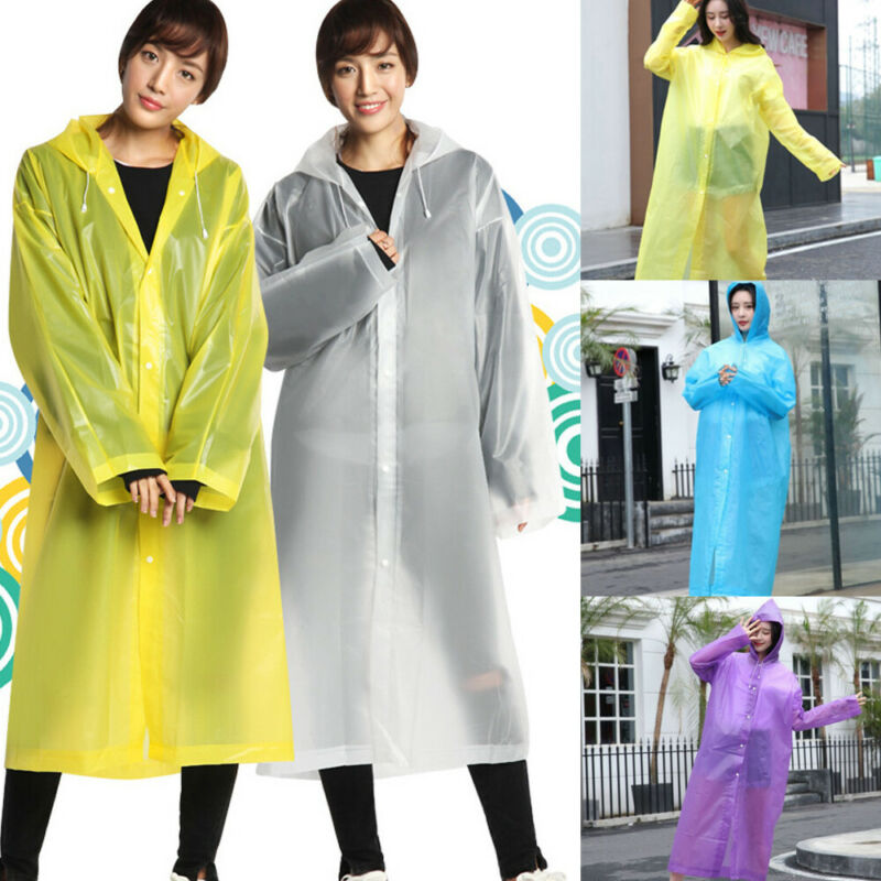 1pcs Raincoat Women Waterproof Poncho Single-layer PVC Rain Coat Hooded Rainwear Send In Random Color Or Note In The Order