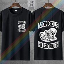 Décontracté T-shirts Mongols Mc Patches Graphique Imprimé Hommes Col Rond Couverture En Coton Noir Taille S-4Xl