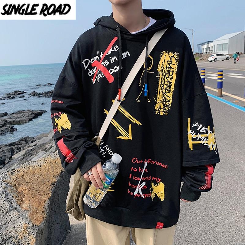 SingleRoad мужские толстовки с капюшоном для мужчин 2020 осень большой хип хоп Harajuku Японская уличная одежда свитшоты Черная Толстовка для мужчин Толстовки и свитшоты      АлиЭкспресс