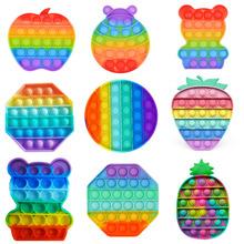 Rainbow Bubble Pops Fidget Kids Toy Sensory Autisim specjalna potrzeba jego antystresowy stres Relief Squishy zabawka spinner losowy kolor tanie tanio ISHOWTIENDA CN (pochodzenie) MATERNITY W wieku 0-6m 7-12m 13-24m 25-36m 4-6y 7-12y 12 + y 18 + Zwierzęta i Natura Do jazdy