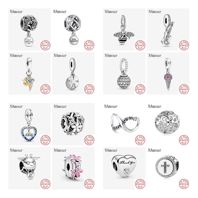 Newst Original honey bee oepnwoek dragonfly daisy clip bead fit Pandora charms silver 925 Bracelet necklace DIY women jewelry(China)