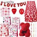 «Любящее сердце» Форма латексных воздушных шаров с висит розовой мишкой подарок на день Святого Валентина Decor Декор для свадьбы и Помолвки ...