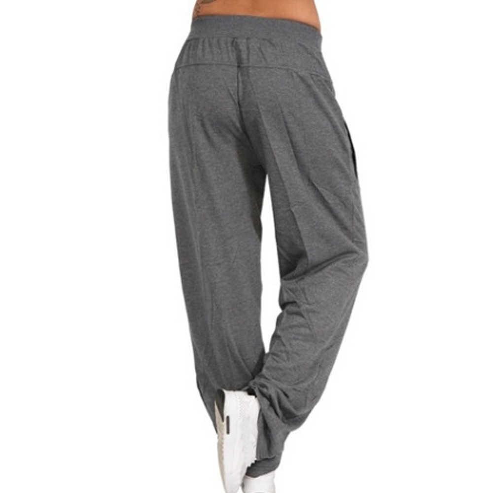 CYSINCOS kadın pantolon 2019 sonbahar kış kadın düz elastik bel gevşek pantolon günlük pantolon bayanlar düz pantolon Streetwear