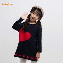 Dasiykoo New Sweater Dress Girl Baby Spring Love Pattern Long Sleeve Gown  Y002