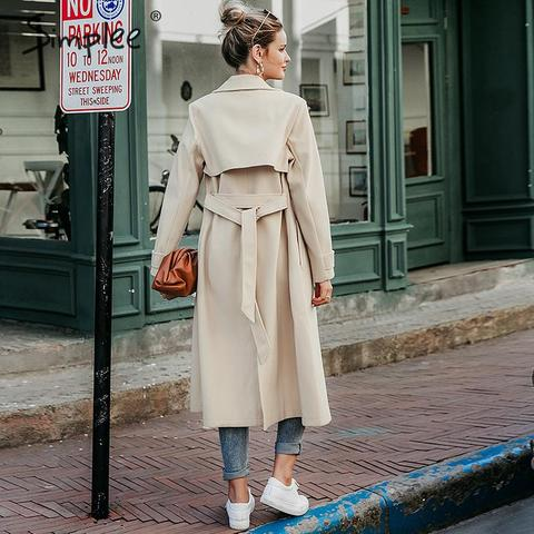 Simplee Wool blend winter tweed coat women Long sleeve elegant sash belt female outwear coat Autumn winter streetwear coat Islamabad
