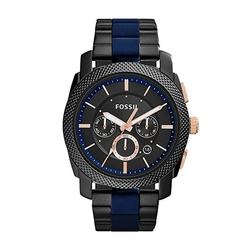 FOSSIL Men's Machine Stainless Steel and Silicone Chronograph Quartz Watch Luxury Watches Mens 2019 FS5164P