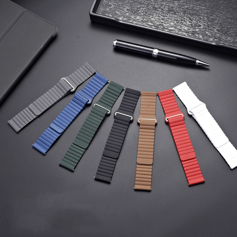 Magnetic Leather Strap For Samsung Galaxy Gear S3 42mm 46mm  Genuine Leather For Galaxy 20mm 22mm Leather Loop Buckle Bracelet