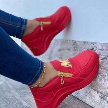 2021 mulheres chunky tênis cor sólida plataforma sapatos de fundo grosso zíper sapatos vulcanizados femininos tênis zapatos de mujer