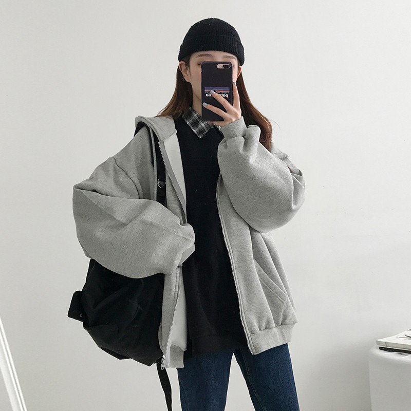 2020 Spring Autumn Hoodies Women Loose Fashion Hooded Warm Zip-up Soft Pocket Korean Long Sleeve Sweatshirt Womens Cute N914