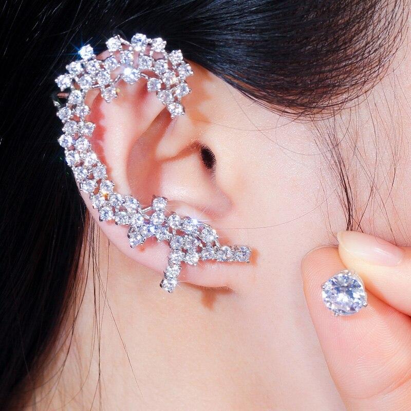 Diamante Rhinestone Crystal Jewel Gem  Ear Cuff Earrings Climber