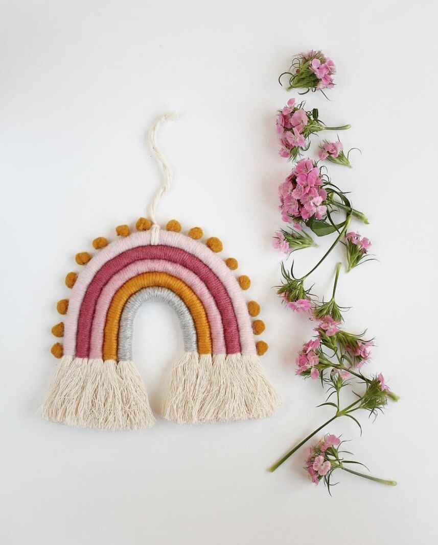 Baby Birth Decoration Hand-Woven Rainbow Toys Hanging Decorarion Wall Hanging Art Home Decorations Baby Nursery Bedroom Decor