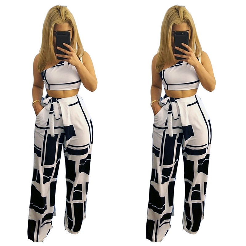 L0178 AliExpress Amazon Europe And America WOMEN'S Dress-Sloping Shoulder Loose Pants Two-Piece Set