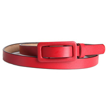 Belt Women Solid Square Belt Without Holes Ladies Coffee Real Leather Cowhide Fashion Female Belt For Jeans