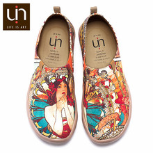 UIN Monacan Girl Design Hand Painted Woman Loafers Slip-on Canvas Travel Shoes for Ladies Casual Flats Outdoor Fashion(China)