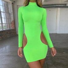 Fluorescent green summer new dress womens round neck long-sleeved Slim short sexy fashion character that temperament wild