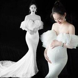 Schwangerschaft lange kleider weiß mutterschaft kleid sexy fotografie requisiten wrap brust meerjungfrau formale partei hochzeit schwangerschaft kleidung