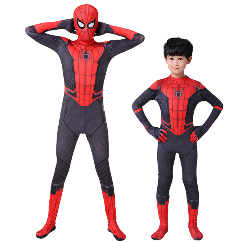 2019 New Kids Adult Spiderman Far From Home Costume Peter Parker Cosplay Zentai Superhero Spider-Man Bodysuit Suit Jumpsuits