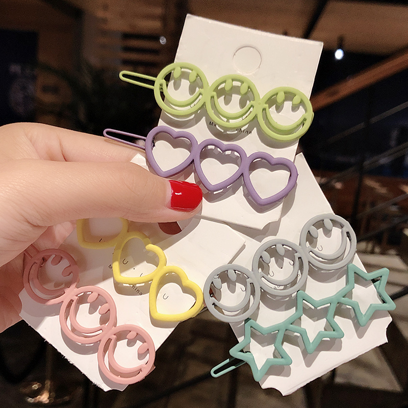 2pcs/Set New Women Girls Cute Star Heart Smile Circle Scrub Barrettes Sweet Headband Hair Clip Hairpin Fashion Hair Accessories
