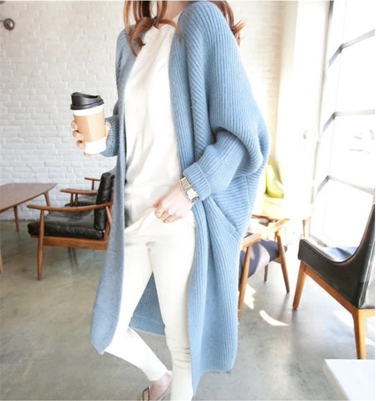 Autumn Winter Batwing Sleeve Knitwear Cardigan Women Large Size Knitted Sweater Cardigan Female Elegant Jumper Coat