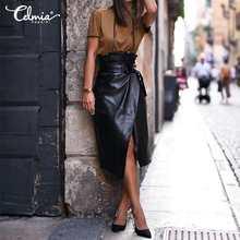 Elegante OL mujeres cuero de la PU de faldas Celmia 2021 moda abertura larga Casual cinturón faldas de oficina para mujer suelta de fiesta de Midi falda 5XL