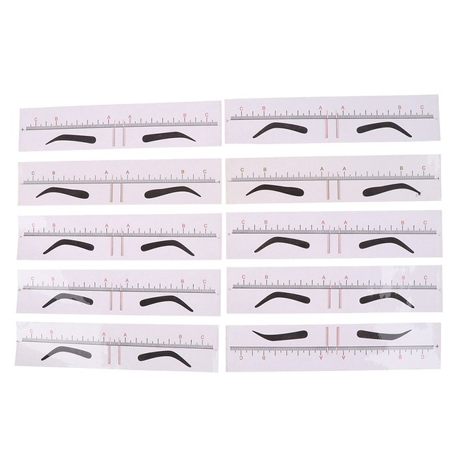 10pcs/set Styling Design DIY Drawing Shaper Template Eyebrow Stencils Template Ruler Sticker Measure Tattoo Makeup Tool