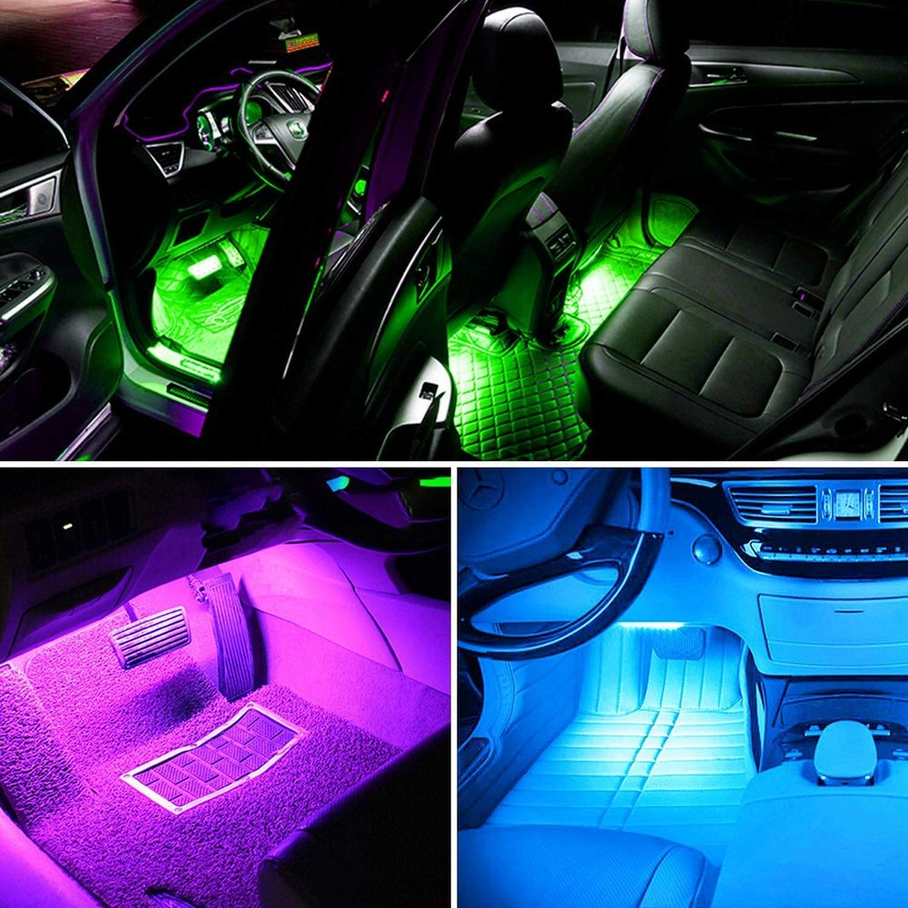 NLpearl APP Car Interior Ambient Light Neon LED Strip Foot Light with USB Wireless Remote Music Auto Atmosphere Decorative Lamp 6