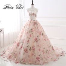 Evening Dresses Party Long Prom Gown O Neck Flower Pattern Floral Print Chiffon Dress 2019