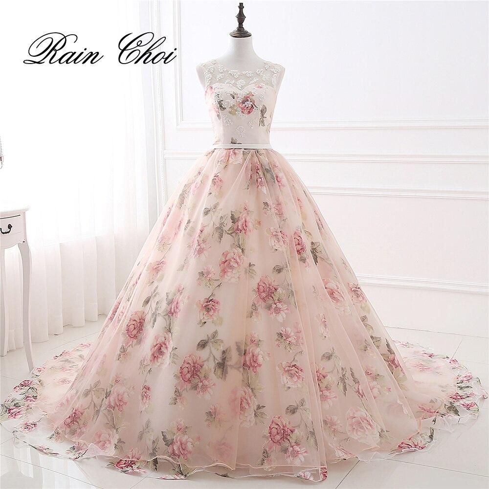 Robes de soirée fête longue robe de bal O cou fleur motif Floral imprimé mousseline de soie robe de soirée 2019