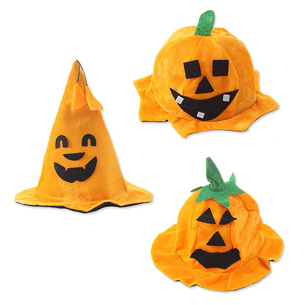 Halloween Ghost Festival Pumpkin Hats Creative Conical Round Orange Funny Pumpkin Party Dress Up Caps Props Accessories