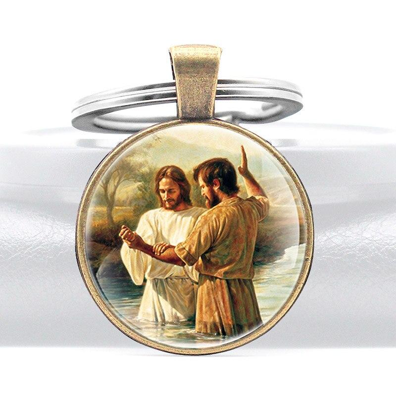 Классический Иисус Христос крестился стеклянный купол для ключа цепь христианские мужчины женщины мужчины ювелирные изделия кольца для кл...