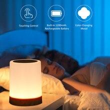 Usb recarregvel controle de toque luz cabeceira regulvel lmpada mesa quente branco & rgb luz da noite sala estar edições in quarto parágrafos