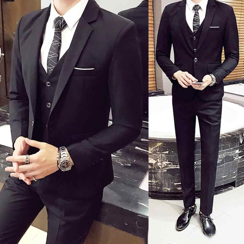 3Pcs Men's solid color slim wedding dress married groomsman small suit overalls suit three-piece suit