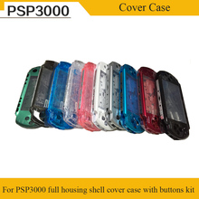 лучшая цена 10 Color Clear Transparent Color For PSP3000 PSP 3000 Shell Game Console replacement full housing cover case with buttons kit