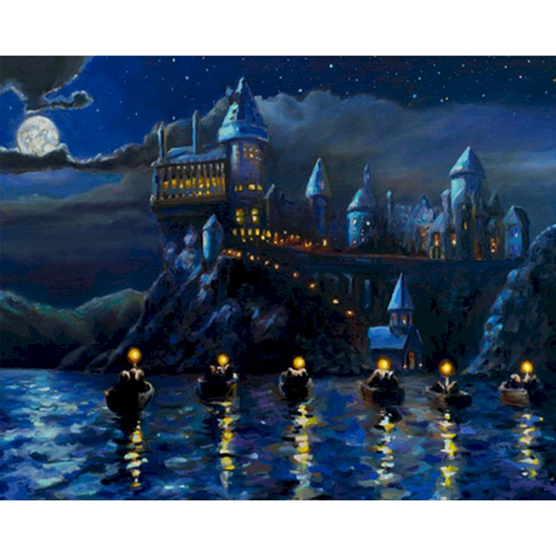 Castle Oil Painting By Numbers Magic Diy Acrylic Paint Handpainted Pictures Coloring Home Decor Landscape Wall Art For Kid Gift