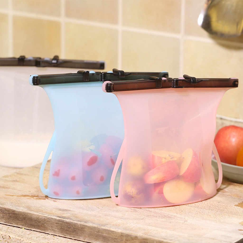 Reusable Seal Silicone Food Fresh Bag Vacuum Sealer Fruit Meat Milk Storage Bags Preservation Seal Container coisas de cozinha