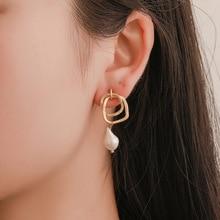 Korean Version of The Irregular Geometric Mosaic Temperament Joker Pearl Earrings Wholesale Heart