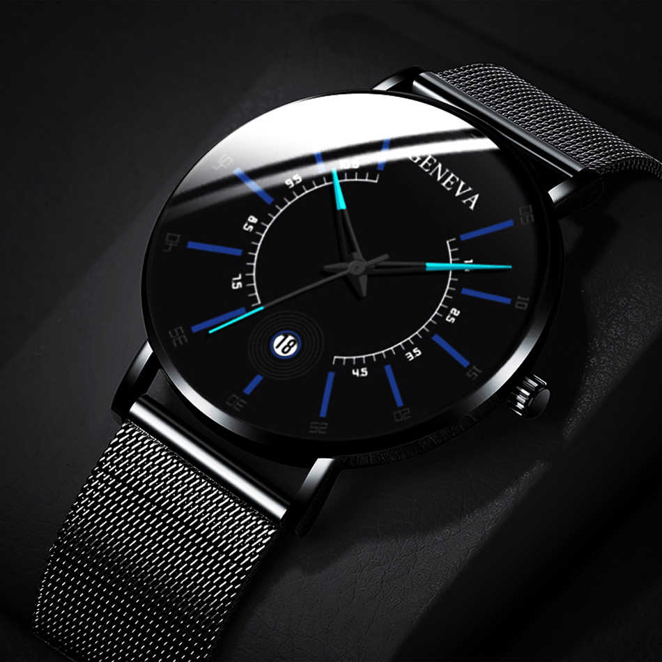 GENEVA Fashion Watch Men Business Accurate Scale Measuring Male Clock Cool Calendar Thin Steel Mesh Band Quartz Watch Relogio