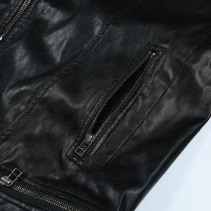 Image 3 - SIMWOOD 2020 spring New Slim Fit PU Leather Biker Jacket Motorcycle Fashion Zipper Streetwear High quality brand clothes 980652
