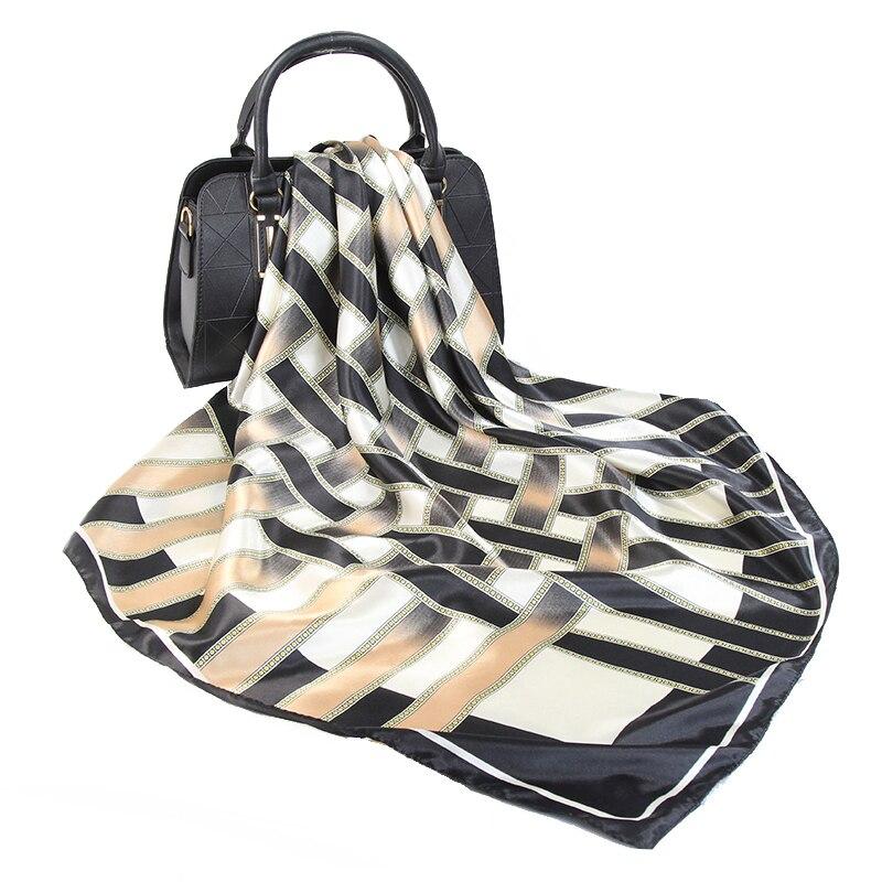 2020 Silk Scarf Women Fashion Luxury Brand Designer Foulard Soft Satin Shawl Scarfs Kerchief 90*90cm Square Neck Headscarf(China)