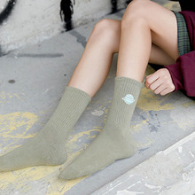 1 Pair Planet Space Universe Cotton Fashion Women Cute College Funny Socks Ankle Happy Candy Kawaii Animal Dog Embroidered