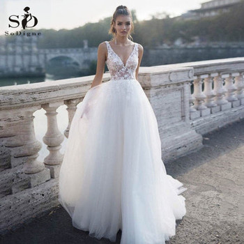 SoDigne Beach Tull Wedding Dress Boho Sexy V Neck A-Line Lace Appliques Wedding Gowns Bridal Dress Plus Size robe de mariee 2020 sodigne tulle wedding dresses a line lace appliques bridal gowns sexy v neck sleeveless backless wedding gown robe de mariee