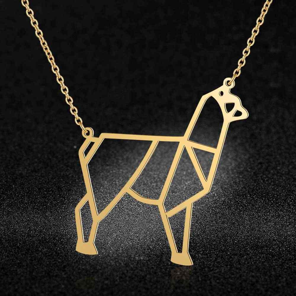 100% จริงสแตนเลส 40cm Alpaca สร้อยคอคุณภาพสูงแนวโน้มเครื่องประดับสร้อยคอแฟชั่นสัตว์จี้สร้อยคอ