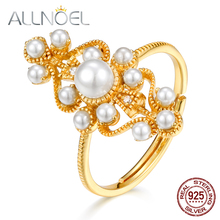 ALLNOEL 925 Sterling Silver Ring for Women  Handmade Pearl 3.5*4mm Real Golden Wedding Engagement Retro Rings Fashion Jewelry
