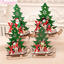 PATIMATE Wooden Christmas Ornaments Santa Claus DIY Xmas Tree Decor Merry Decoration for Home Kids Gift New year 2020