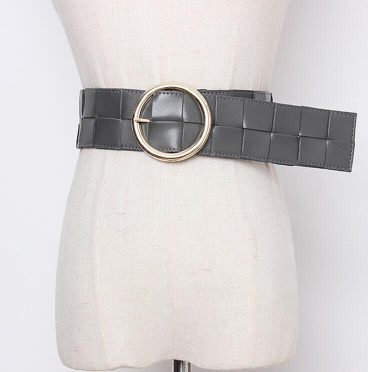 Women's Runway Fashion Knitted Pu Leather Cummerbunds Female Dress Corsets Waistband Belts Decoration Wide Belt R2437